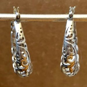 Jewelry - Lovely Filigree Sterling Silver Hoop Earrings